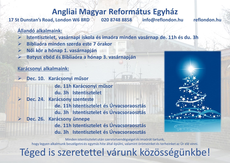 Következő istentisztelet december 17-én, vasárnap de. 11 és du. 3 órakor.