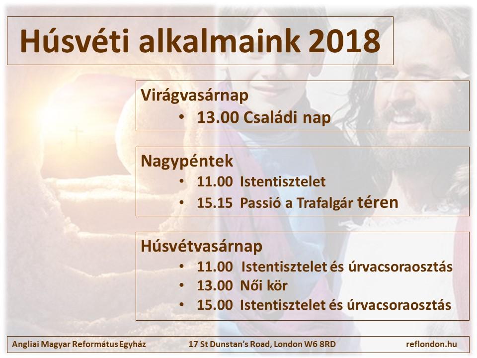Istentisztelet 2018. március 25-én de. 11h és du. 3h