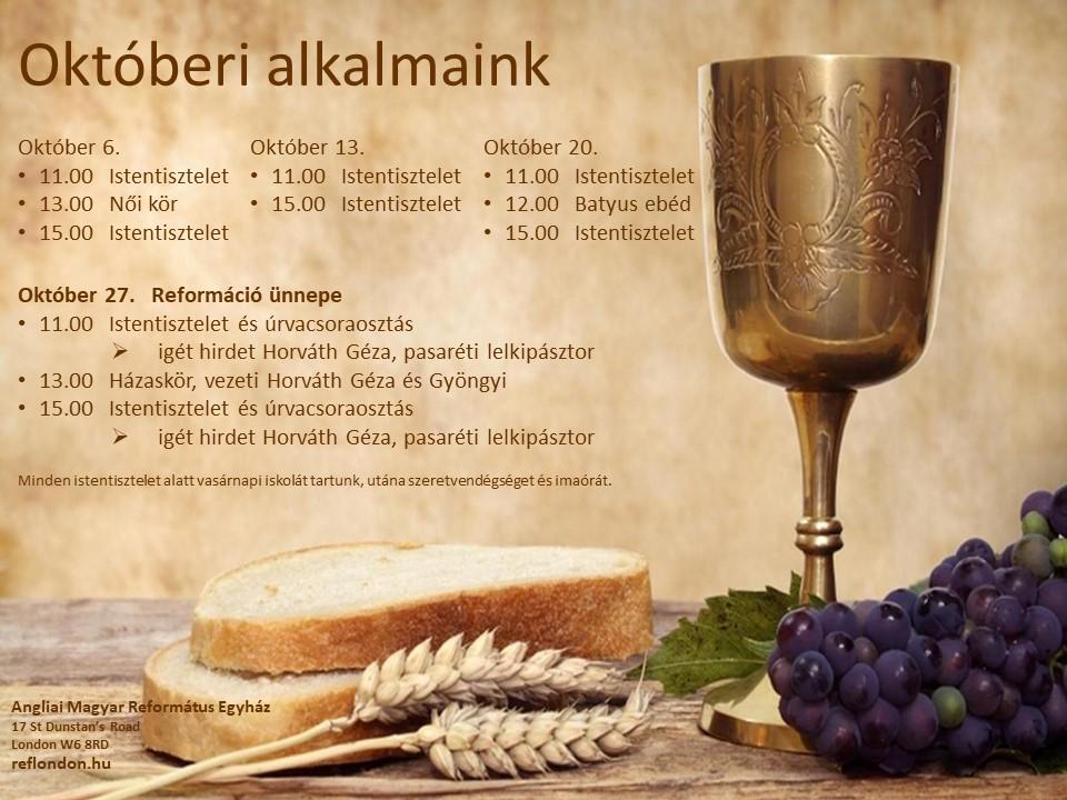 Istentisztelet 2019. október 20-án de. 11h és du. 3h